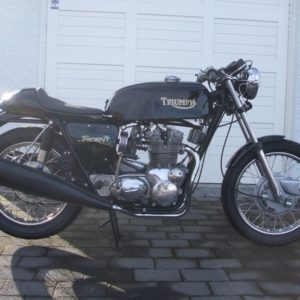 Another Slippery Sam, this time on a Triumph T150