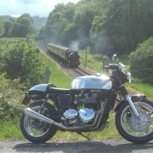 A Triumph Thruxton photographed in Cumbria