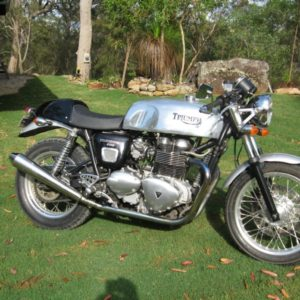 Another Slippery Sam on a modern Triumph Thrux - this time in Sunny Australia