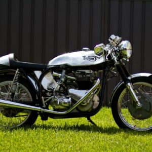 A stunning Triumph powered Triton photographed in the Australian sunshine - TAB tank,seat and oiltank