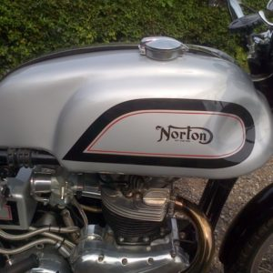 Painted Manx tank on a Norton