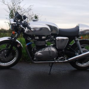 Triumph Thruxton with TAB Manx tank, seat cowl and mudguard