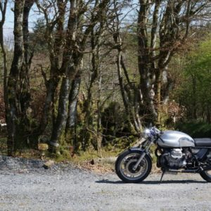 Guzzi cafe Racer photographed at our place in Wales