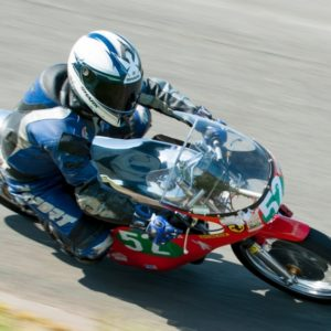 Colin Purslow racing at Aintree, this is a Ducati Single with our Vic camp tank and custom seat.