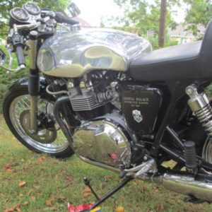 Sprint tanks and a TAB seat unit in a carb Triumph Thruxton