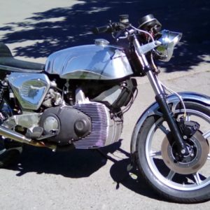 Norton Rotary cafe racer with our Manx tank, we also made the seat and side panels
