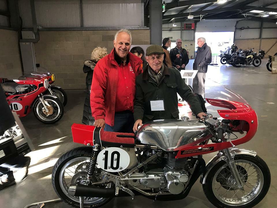 Colin Seeley standing behind Brailsford's bike - so proud to have made the tank for this bike!