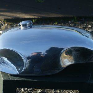 Handmade alloy petrol /gas tank for a Triumph Bonneville/ Thruxton cafe racer.